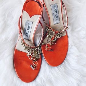 Tangerine + Gold Accented Kitten Heel Sandals
